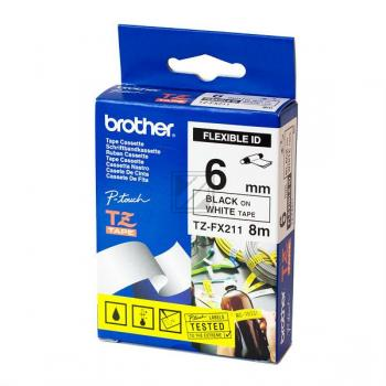 Brother Schriftbandkassette schwarz/weiß (TZE-FX211)
