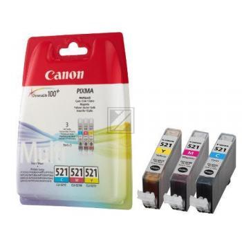 Canon Tintenpatrone Blister Blister gelb cyan magenta (2934B010, CLI-521C CLI-521M CLI-521Y)