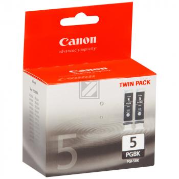 Canon Tintenpatrone 2x schwarz 2-er Pack (0628B030, 2x PGI-5BK)