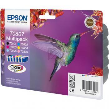 Epson Tintenpatrone gelb cyan cyan light magenta magenta light schwarz 6-er Pack (C13T08074010, T0807)