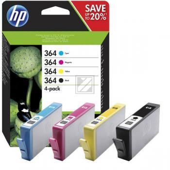Hewlett Packard Tintenpatrone gelb cyan magenta schwarz (N9J73AE, 4x 364)