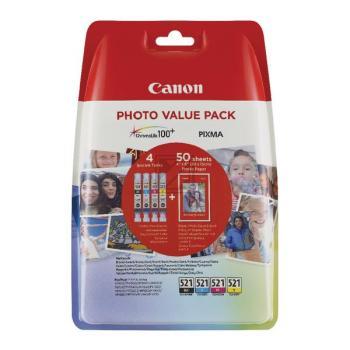 Canon Valuepack CLI-521 Blister 4x6 Photo Paper PP-201 50 sheet + 2933B010