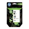 HP 21   22   Combopack 2er Set, HP Tintenpatrone, schwarz und farbig